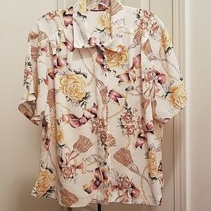 Button Down Short Sleeve Blouse